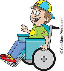 Boy in a wheelchair - Cartoon illustration of a boy in a...