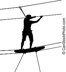 boy in adventure park rope ladder. Strong young men in a rope park on the wood background. Silhouette Adventure.