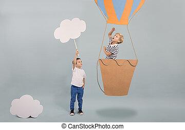 Boy in air balloon