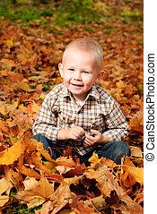 Boy in autumn leaves