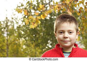 Boy in autumn park looking to camera