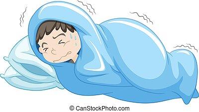 Boy in bed having nightmare illustration