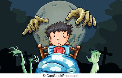 Boy in bed having nightmare illustration