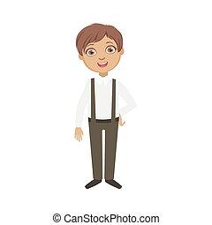 Boy In Black Pants With Suspenders Happy Schoolkid In School...