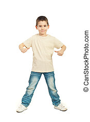 Boy in blank beige t-shirt - Full length of boy in blank...