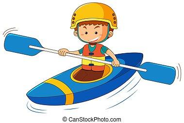Kayak boy. Boy sits in kayak holding a paddle and wearing ...