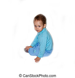 Boy in blue on a white background