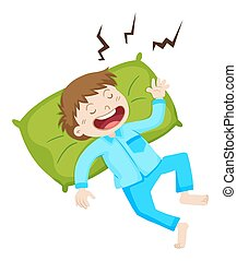 Boy in blue pajamas sleeping