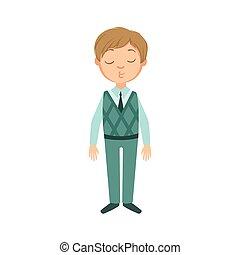 Boy In Blue Pants And Vest Happy Schoolkid In School Uniform...