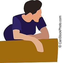 Boy in blue shirt, illustration, vector on white background....