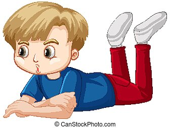 Boy in blue shirt laying down on the floor