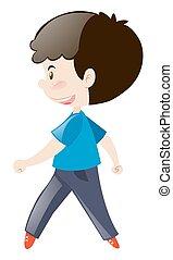 Boy in blue shirt walking illustration