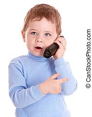 Boy in blue speak on phone. Isolated.