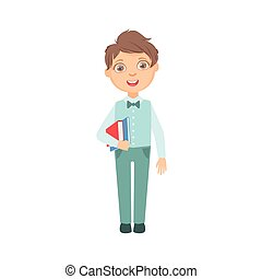 Boy In Blue Trousers And Vest Holding Books Happy Schoolkid...