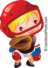 Boy in catcher position baseball