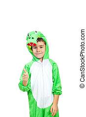 Boy in crocodile costume give thumbs