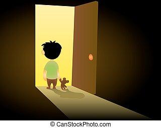 Boy In Dark Room