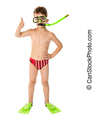 Boy in diving mask with thumb up sign