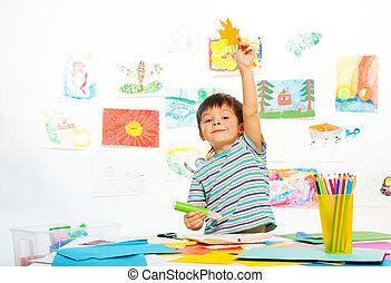Boy in early development class