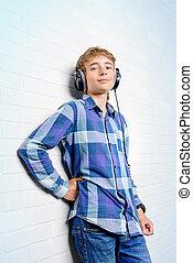 boy in earphones