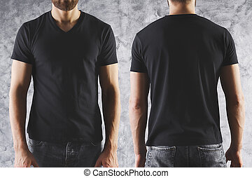 Boy in empty black t-shirt - Shirt design and people...