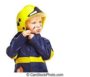 Boy in fireman costume with helmet