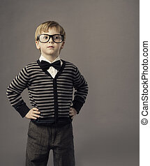 boy in glasses, little child portrait, kid smart casual clothing