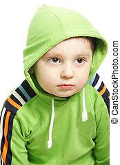 Boy in green hood