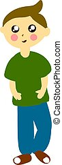 Boy in green shirt, illustration, vector on white background.