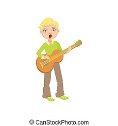 Boy In Green Shirt Playing Guitar And Singing
