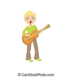 Boy In Green Shirt Playing Guitar And Singing