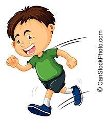 Boy in green shirt running illustration