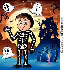 Boy in Halloween costume theme image 2