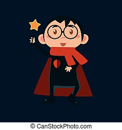 Boy In Harry Potter Haloween Disguise Funny Flat Vector Illustration On Dark Background