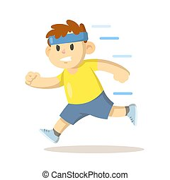 Boy in headband running, cartoon character design. Flat vector illustration, isolated on white background.