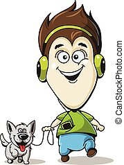 Boy in headphones with a dog