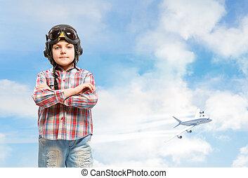 Boy in helmet pilot dreaming of becoming a pilot - Boy in ...