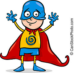 boy in hero costume cartoon - Cartoon Illustration of Cute...