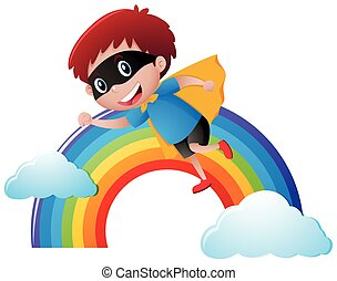 Boy in hero outfit flying over the rainbow