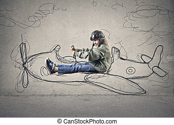 Boy in illustrated plane