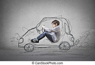 Boy in imaginary car