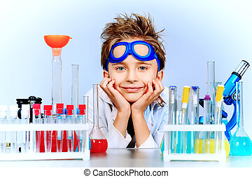 boy in laboratory