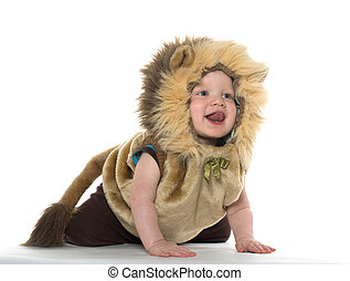 18-month-old baby boy in a lion costume for Halloween on white background