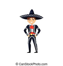 Boy in Mexican national suit. Kid wearing blue sombrero and costume with embroidery. Flat vector design