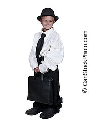 Boy in Oversized Clothes - Little boy dressed in oversized...