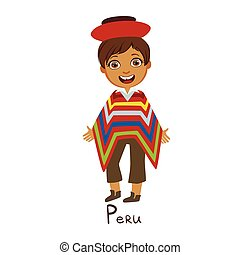 Boy In Peru Country National Clothes, Wearing Poncho Traditional For The Nation. Kid In Peruan Costume Representing Nationality Cute Vector Illustration.