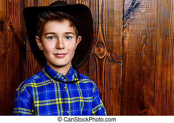 boy in plaid shirt