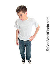 Boy in plain t-shirt - A boy standing in a plain t-shirt, ...