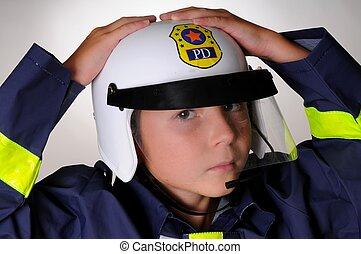 Boy In policeman Costume