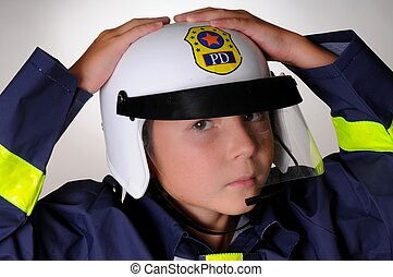 Boy In policeman Costume